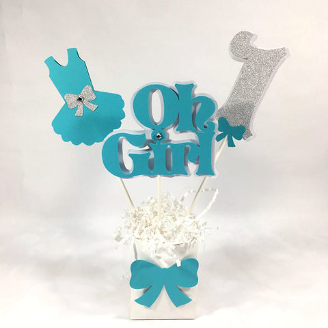 Oh Girl 1st Birthday Centerpiece Sticks - Turquoise Teal & Silver
