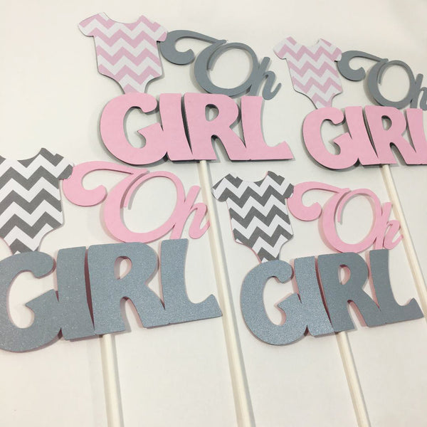 Pink & Gray Oh Girl Cake Toppers