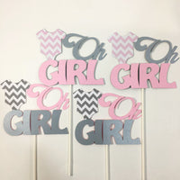 Oh Girl Pink & Gray Baby Shower Cake Toppers