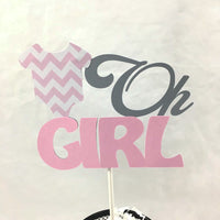 Oh Girl Diaper Cake Toppers - Pink & Gray