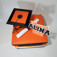 Graduation Card Box - Orange, Black 10x10