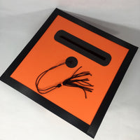 Graduation Cap Card Box - Orange, Black