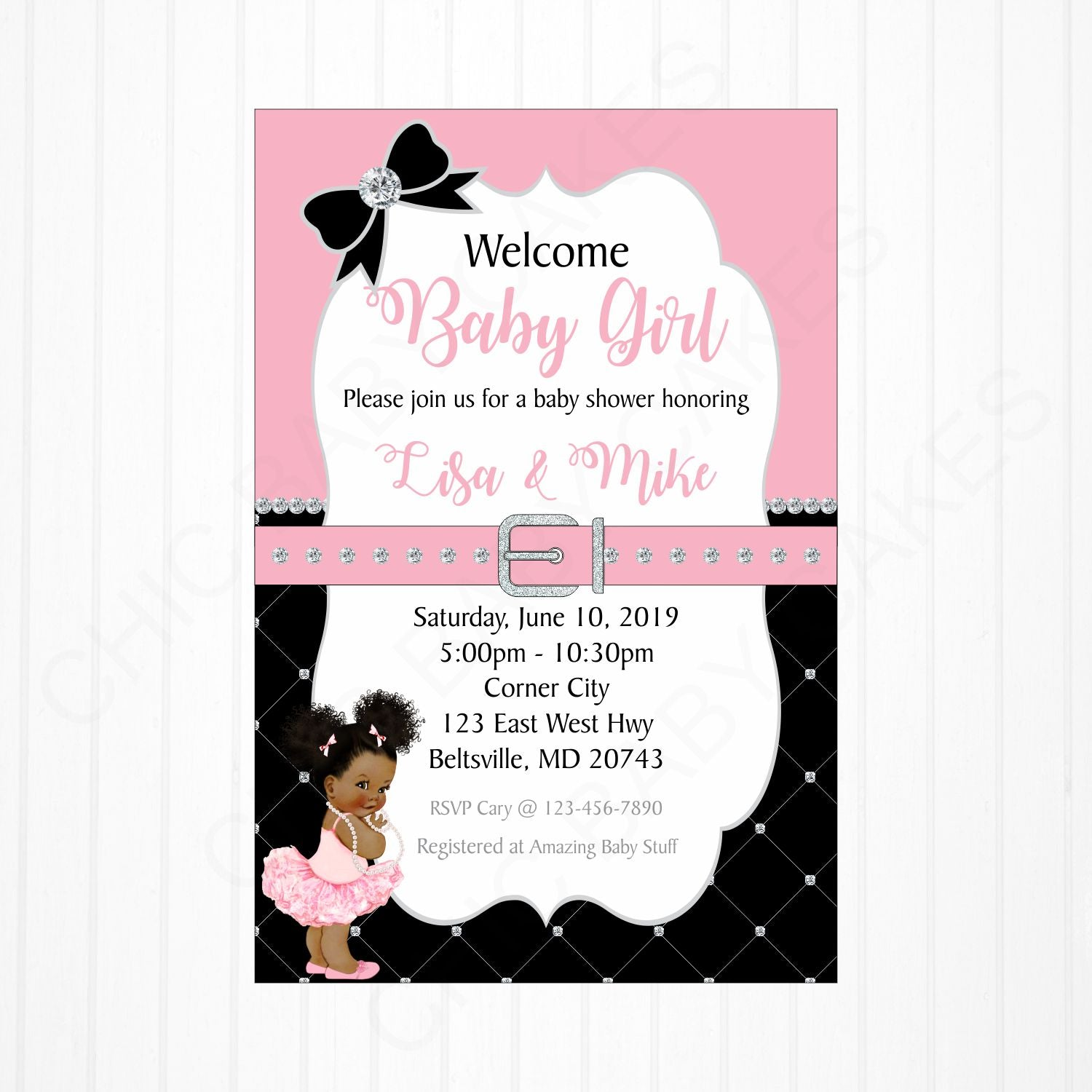 Girl Baby Shower Invitation - Pink, Black