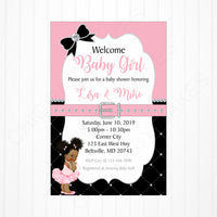 Pink and Black Girl Baby Shower Invite