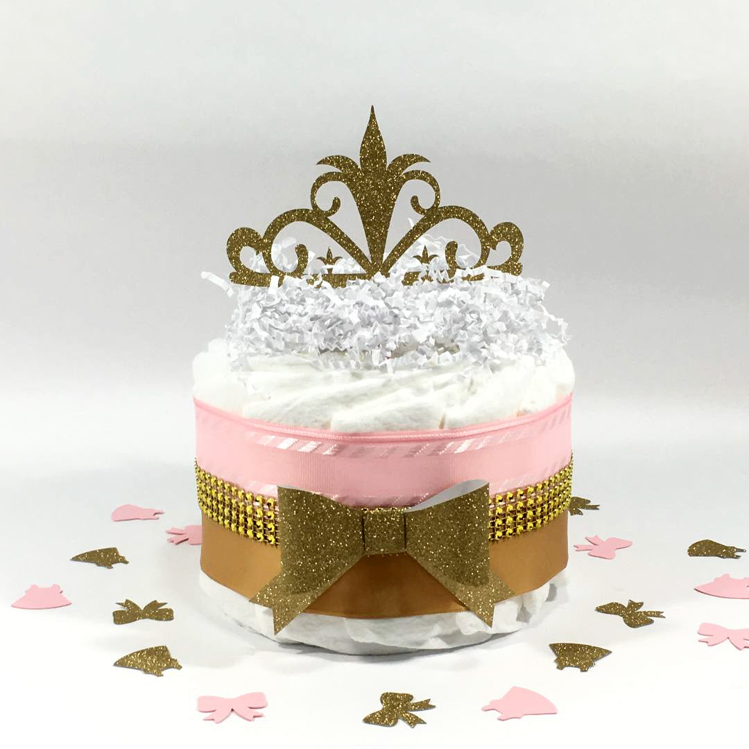Little Princess 1-tier Diaper Cake, Pink, Gold