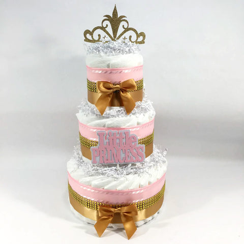 Little Princess 3-tier Diaper Cake, Pink, Gold