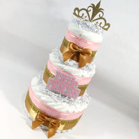 Pink & Gold Princess Baby Shower Diaper Cake Centerpiece