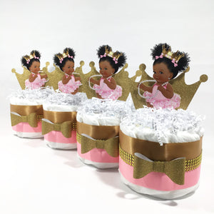 Pink & Gold Princess Mini Diaper Cakes, Afro