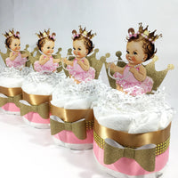 Pink & Gold Princess Mini Diaper Cakes, Brunette