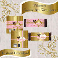 Pink & Gold Princess Candy Bar Wrappers