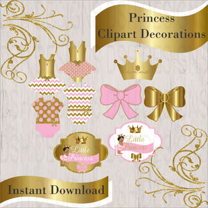 Pink & Gold Princess Clipart Decorations