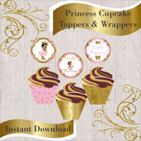 Pink & Gold Princess Cupcake Toppers & Wrappers