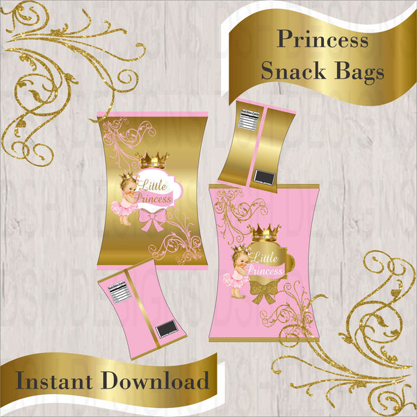 Pink & Gold Little Princess Chip Bags, Blonde