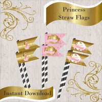 Pink & Gold Princess Straw Flags