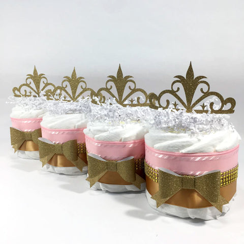 Little Princess Mini Diaper Cake Centerpieces, Pink, Gold