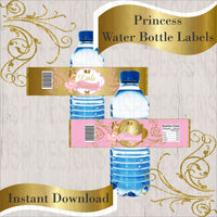 Pink & Gold Princess Water Bottle Labels