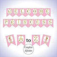 Pink & Gold Little Princess Alphabet Banner, Blonde