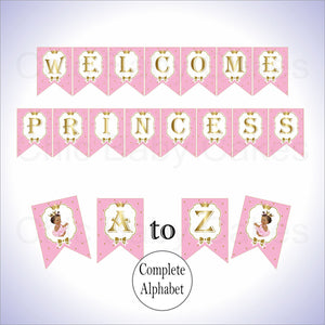 Pink & Gold Princess Baby Shower Banner