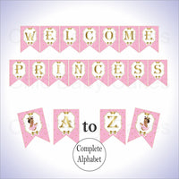 Pink & Gold Little Princess Alphabet Banner, Brown