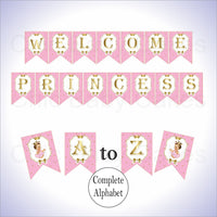Pink & Gold Little Princess Alphabet Banner, Brunette