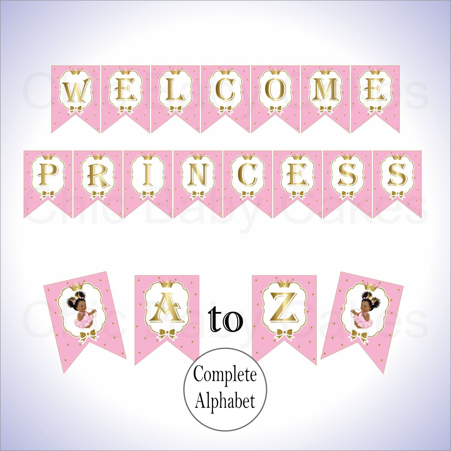 Printable Little Princess Banner- Pink, Gold