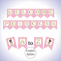 Pink & Gold Little Princess Alphabet Banner, Afro