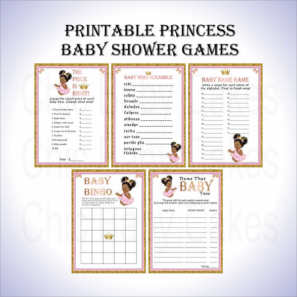Pink & Gold Princess Baby Shower Games
