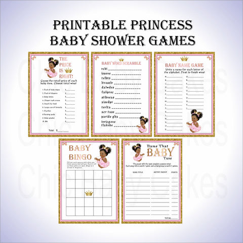 Princess Baby Shower Game Pack - Pink, Gold