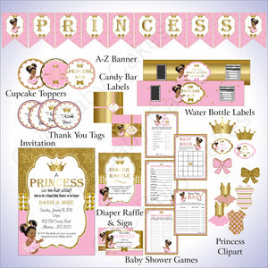 Pink and Gold Little Princess Baby Shower Decoration Pack