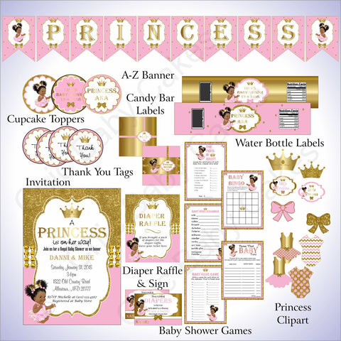 Princess Baby Shower Decorations - Pink, Gold