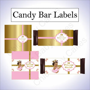 Pink and Gold Little Princess Candy bar Wrappers, Brown