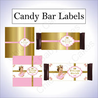 Pink and Gold Little Princess Candy bar Wrappers, Brunette