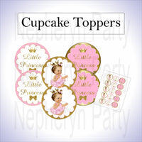 Pink & Gold Princess Cupcake Toppers, Brunette
