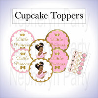Pink & Gold Princess Cupcake Toppers, Curly Afro