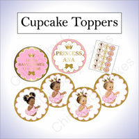 Pink and Gold Little Princess Baby Shower Cupcake Toppers
