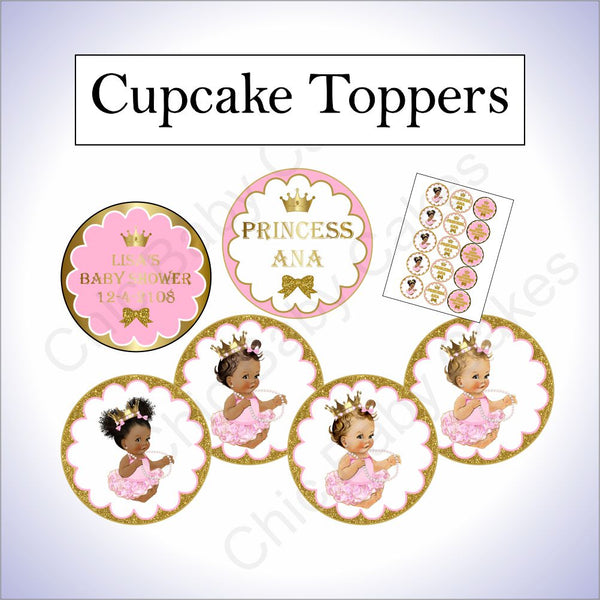 Pink & Gold Little Princess Cupcake Toppers