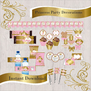 Pink & Gold Princess Decorations, Blonde