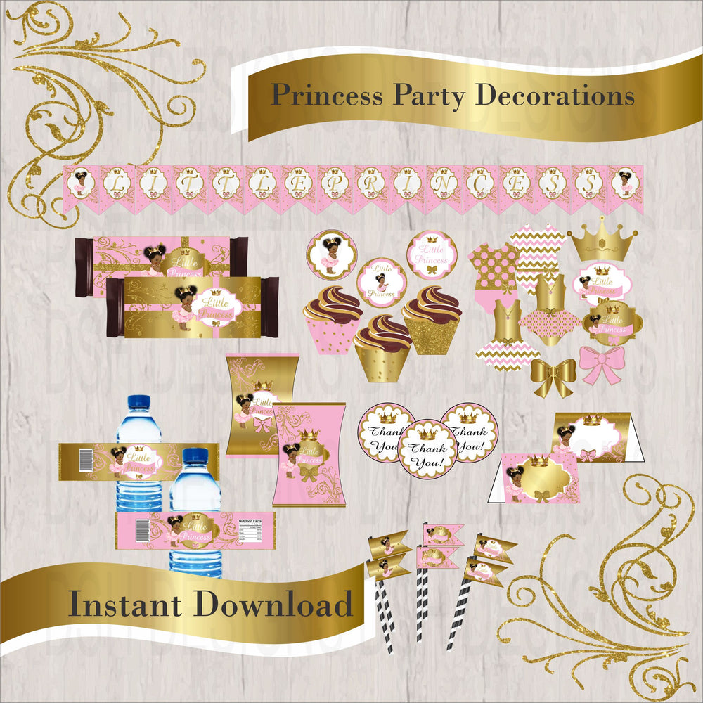 Pink & Gold Princess Decorations, Curly