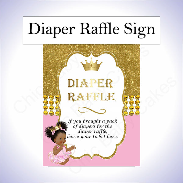Pink & Gold Princess Diaper Raffle Sign, Curly Afro