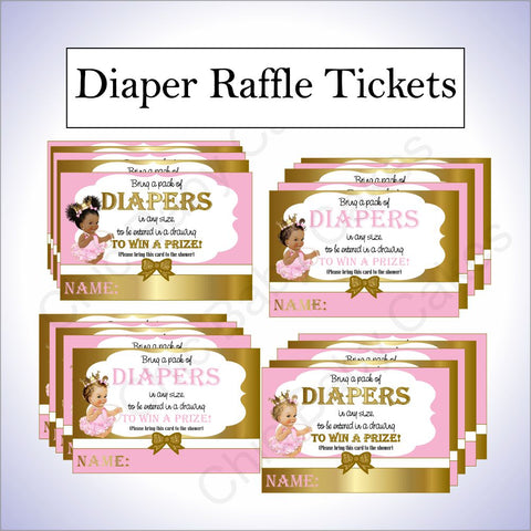 Princess Diaper Raffle Tickets - Pink, Gold