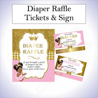 Pink and Gold Little Princess Baby Shower Invite & Diaper Raffle