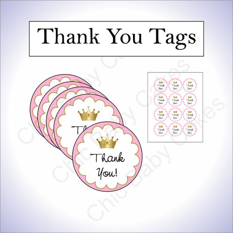Little Princess Thank You Tags - Pink, Gold