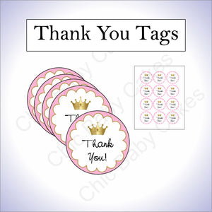 Pink and Gold Little Princess Baby Shower Thank You Tags