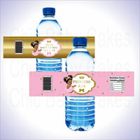 Pink & Gold Princess Water Bottle Labels, Afro