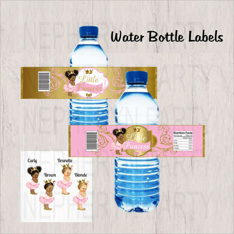Pink and Gold Little Princess Water Bottle Labels
