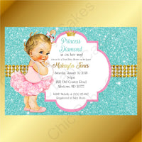 Pink & Teal Little Princess Baby Shower Invite, Blone