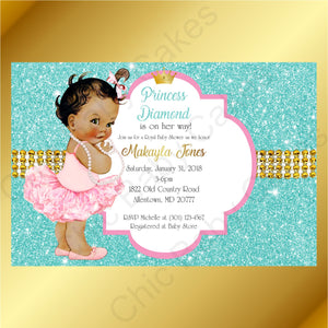 Pink & Teal Little Princess Baby Shower Invite, Brown