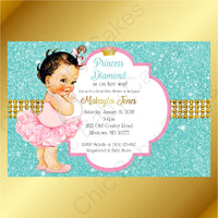Pink & Teal Little Princess Baby Shower Invite, Brunette