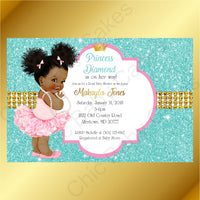 Pink & Teal Little Princess Baby Shower Invite, Afro