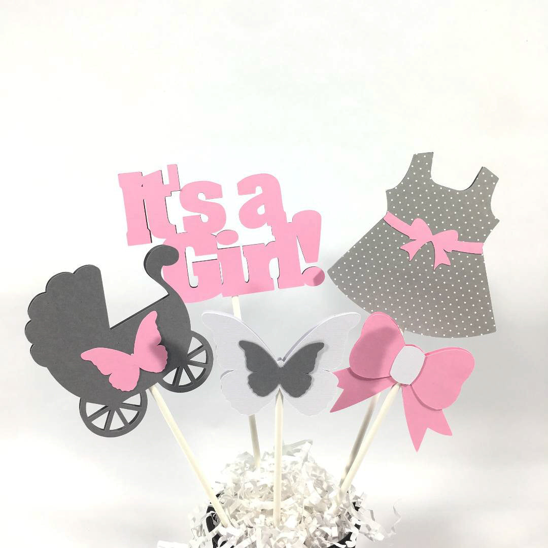 Pink & Gray It's a Girl Centerpiece Sticks